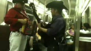 Two Mexicans singing on NYC subway - Uptown express train