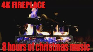 8 hours fireplace christmas music