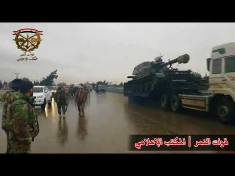 رتل الجيش العربي السوري المتجه الى العاصمة دمشق للبدأ بأكبر عملية عسكرية في الغوطة الشرقية