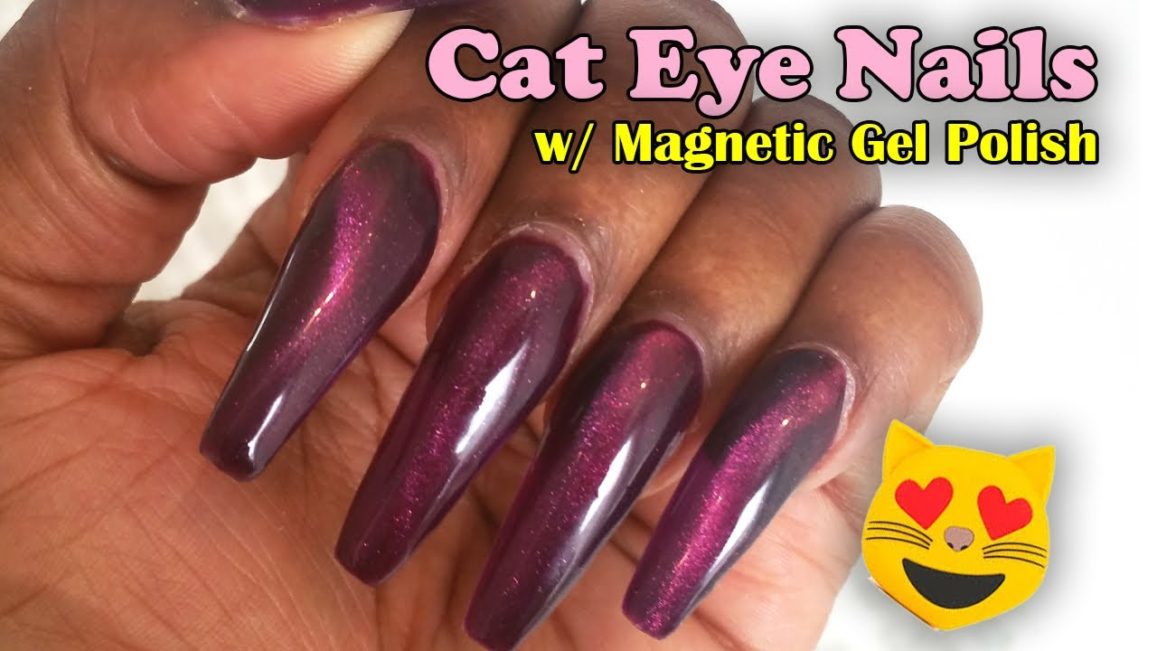 Acrylic Nails Cat Eye With Magnetic Gel Polish