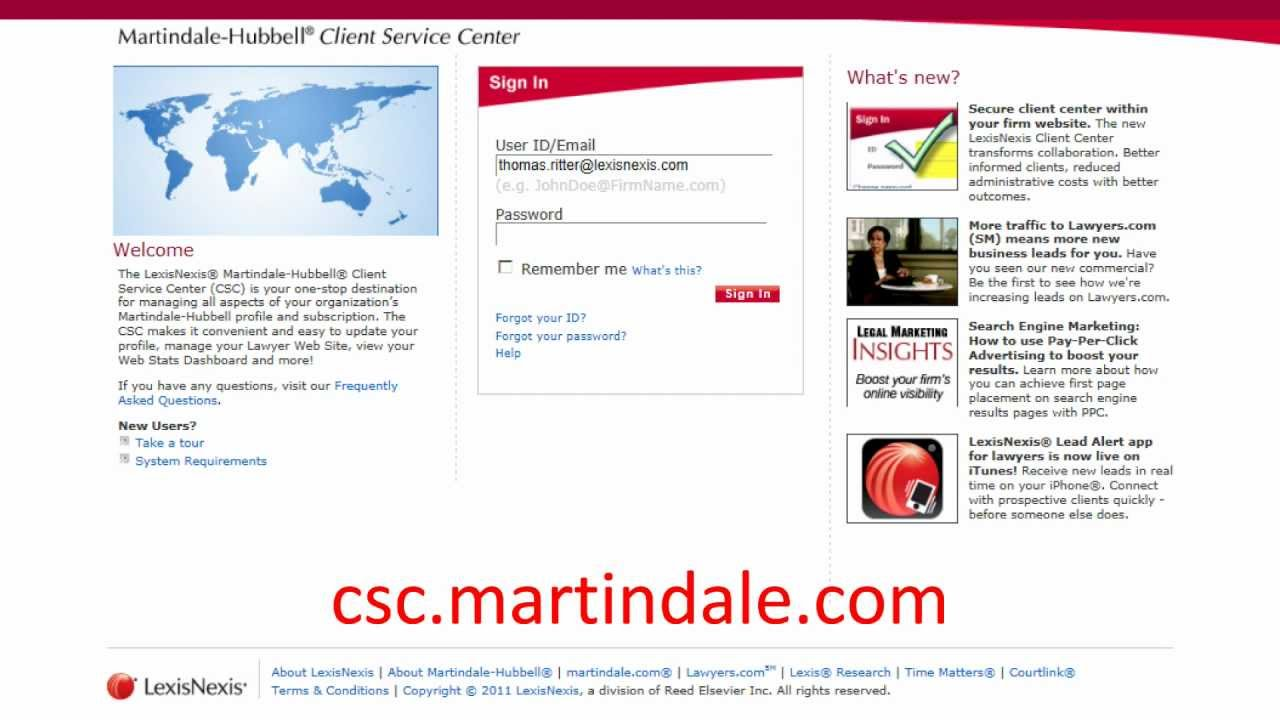 how to login lexisnexis martindale hubbell client service center