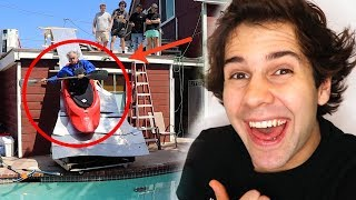 Download DAD BUILDS KAYAK SLIDE OFF OF HOUSE!! Mp3 and Videos