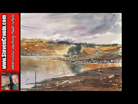 Loch Doon watercolour painting demonstration with the large hake brush