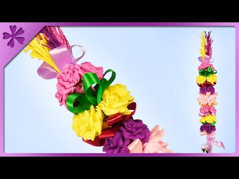 DIY How to make Easter palm decoration out of tissue paper (ENG Subtitles) - Speed up #454