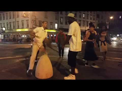 Street night fight at the meatpacking district