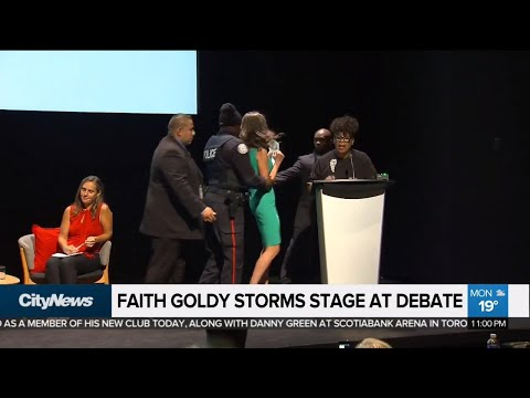 Toronto mayoral candidate storms stage at first debate