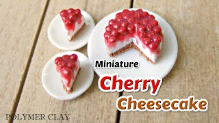 Miniature Cherry Cheesecake Tutorial made with Polymer Clay.