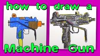 How To Draw a Machine Gun / UZI