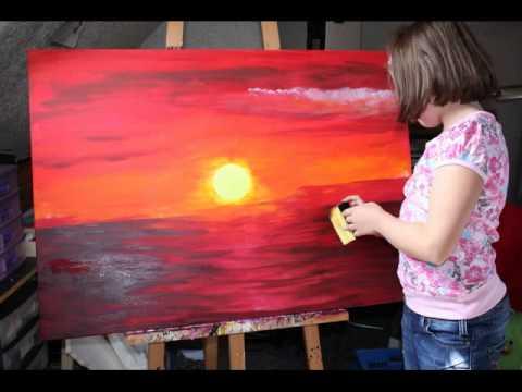 """Landschaftsmalerei von Celine Zapp """"Sonnenuntergang"""" - YouTube"""