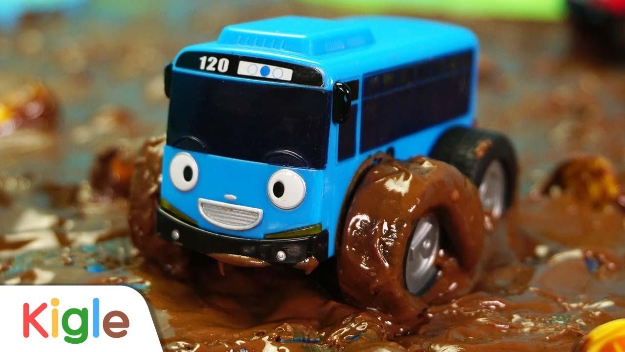 타요 초콜릿 늪에서 탈출해요! | 중장비 구조대 이어보기 31화~ 40화 | 중장비 포크레인 덤프트럭 레미콘 자동차 기차 버스  | 꼬마버스 타요 | KIGLE TV | 키글TV