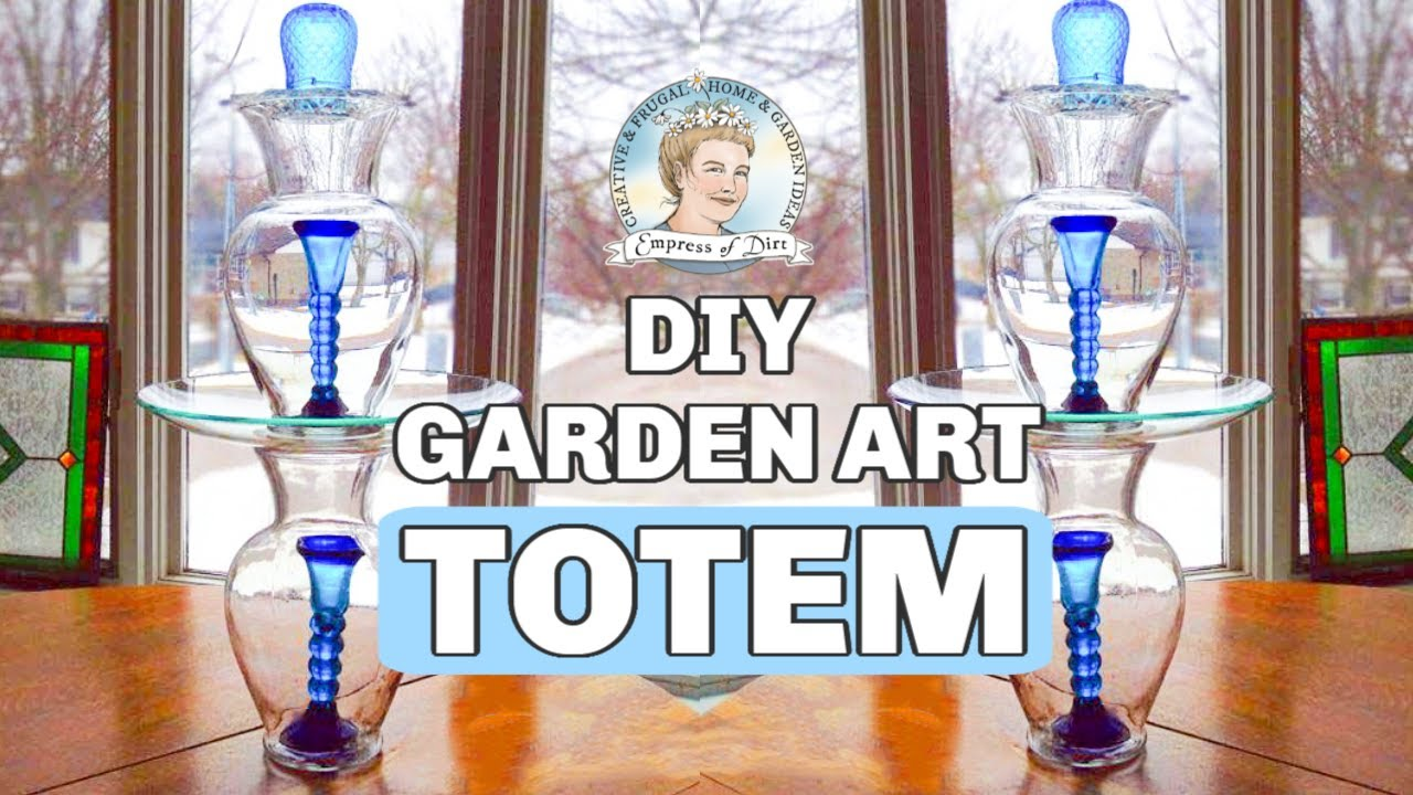 How to make glass yard art -  Part 1 2 How To Make A Glass Garden Art Totem And Bird Bath