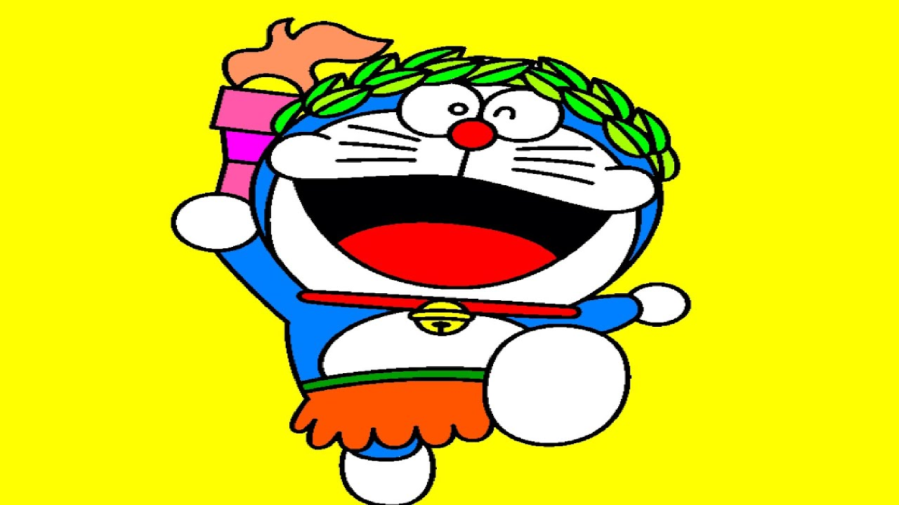 doraemon holding olympic torch coloring page youtube