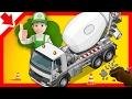 Concrete mixer for children. Handy Andy cartoon Tractor. Excavator. Truck. Crane. Construction Truck