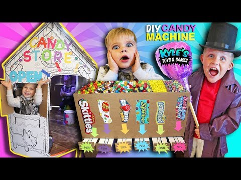 DIY Cardboard Candy Dispenser Vending Machine! CANDY STORE Box Fort! SKITTLES & Gummy Candy