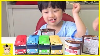 Tayo The little Bus Toy Cookies nutella Mukbang ♡ Pororo black noodle eating  | MariAndKids Toys