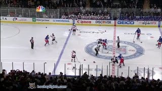 Devils vs Rangers start of game line brawl Mar 19, 2012.
