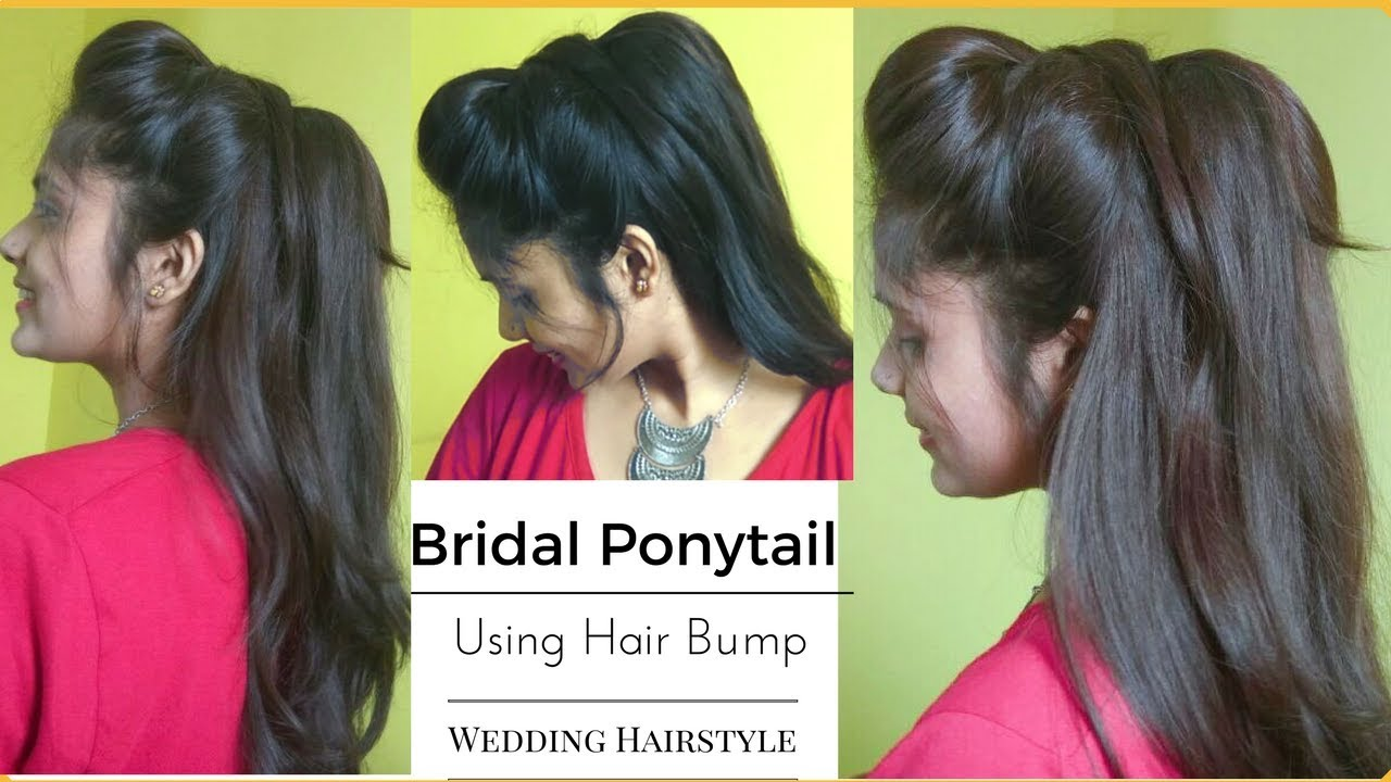 Easy WEDDING Messy Ponytail Hairstyle Using Bumps