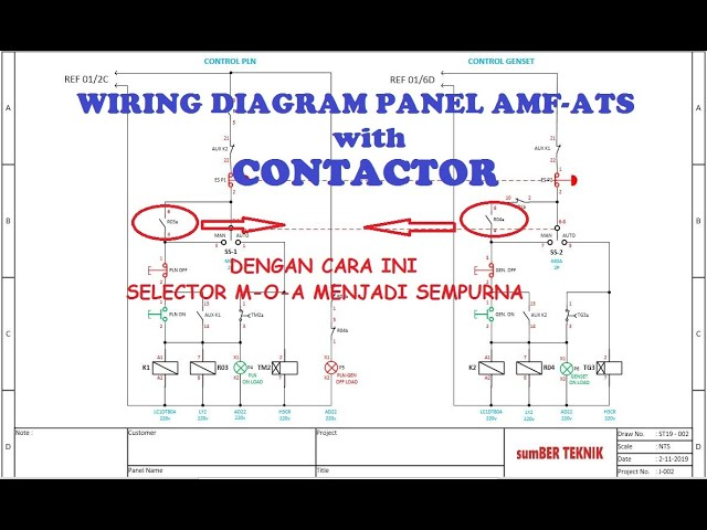 Wiring Diagram Panel Amf Ats With Contactor Youtube
