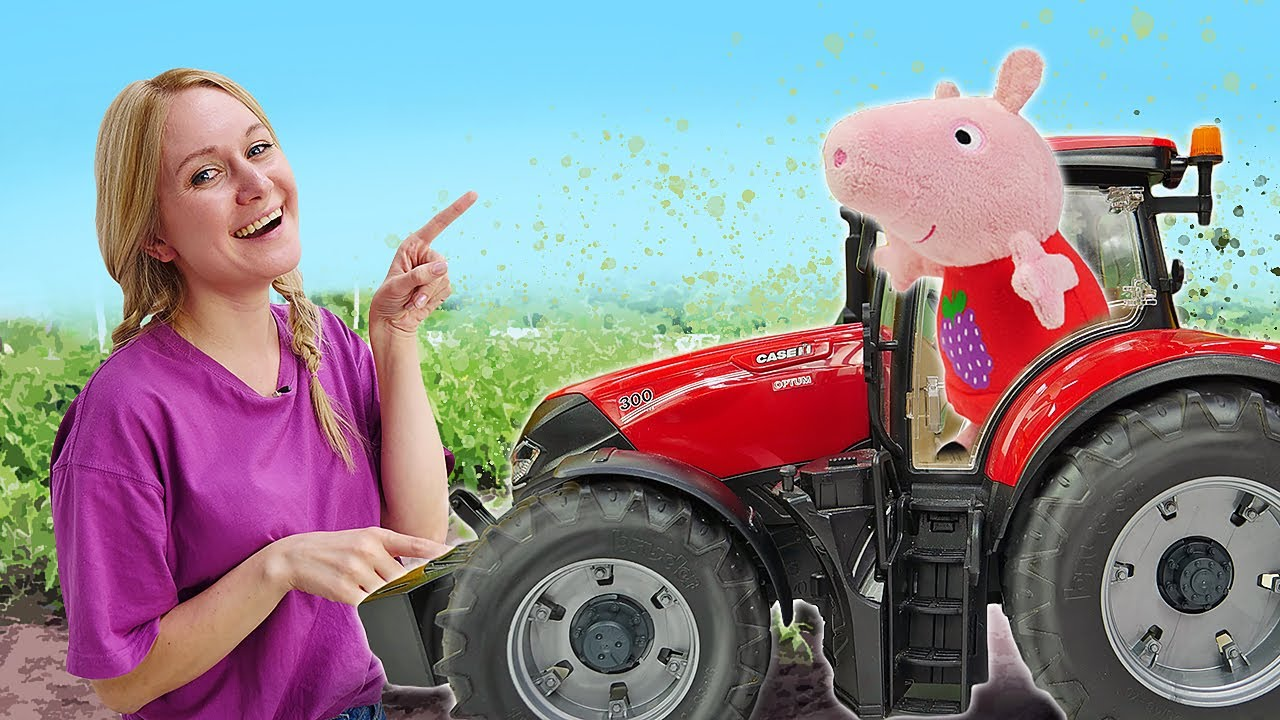 Свинка Пеппа на Ферме - Лепим из пластилина Трактор из Плей До - Видео игры машинки для детей