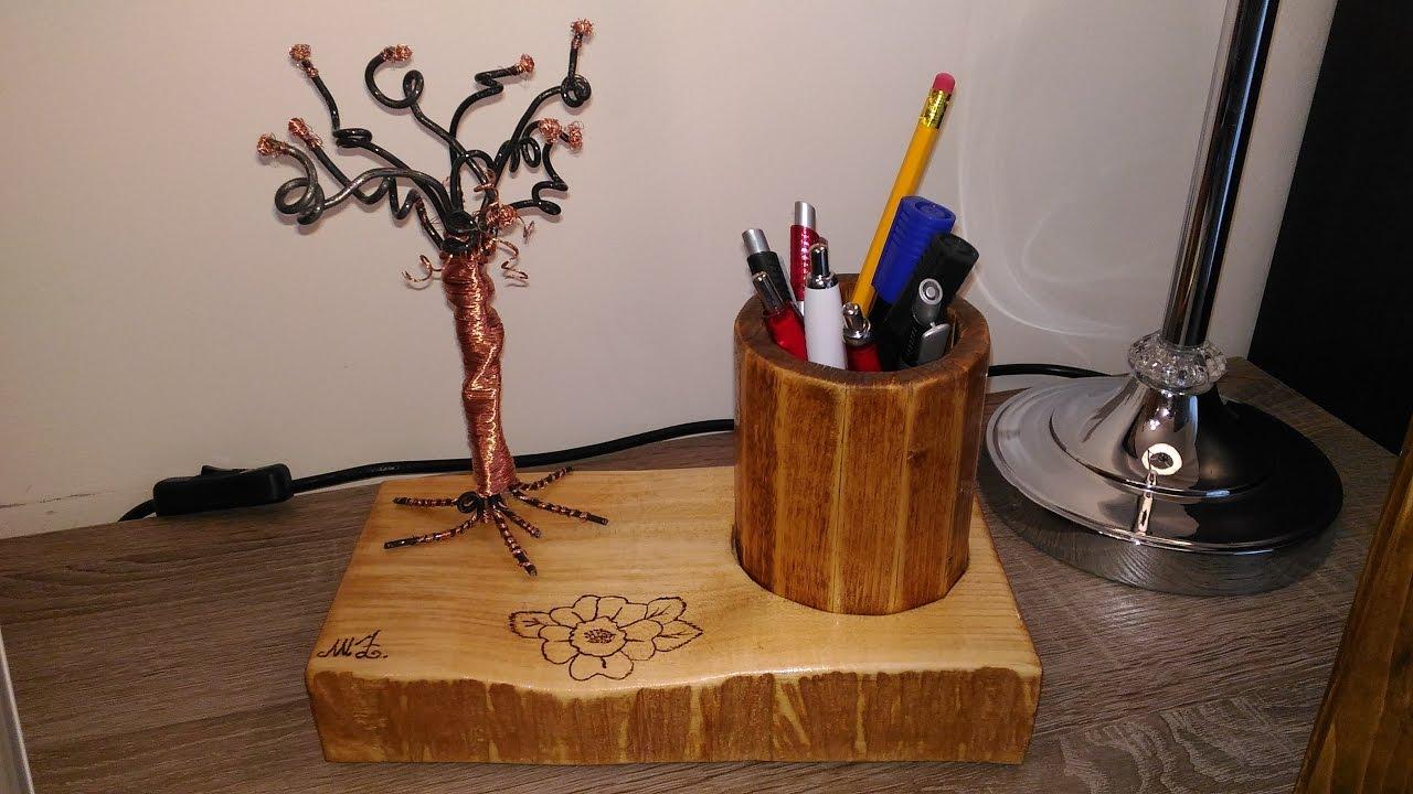 Porta penne in legno ferro e rame fai da te con pirografia for Youtube legno fai da te