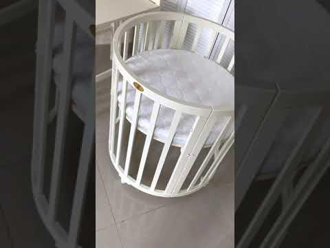 Кроватка круглая трансформер 6в1 Комби цвет Молочный