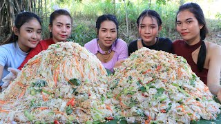 Wow amazing cooking noodle salad with pork and vegetable recipe