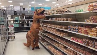 I was banned from Target so I wore a T-Rex disguise