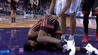 Derrick Jones Hard Fall   Scary Injury   Heat vs Hornets Video