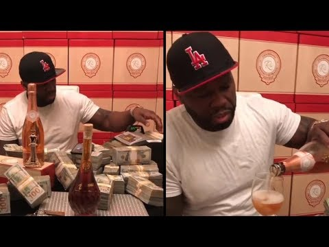 50 Cent Counts Money & Drinks Champagne