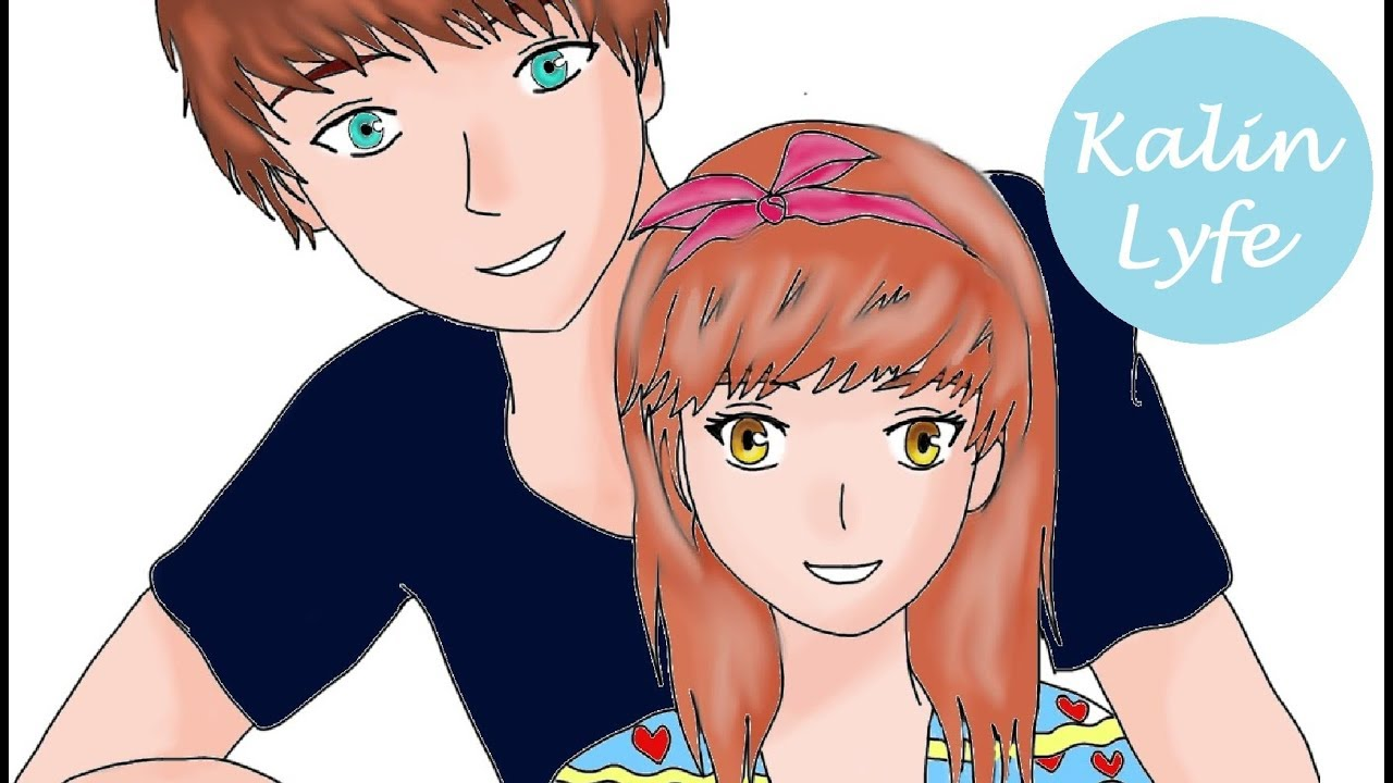 Ep3 drawing an anime couple back hug