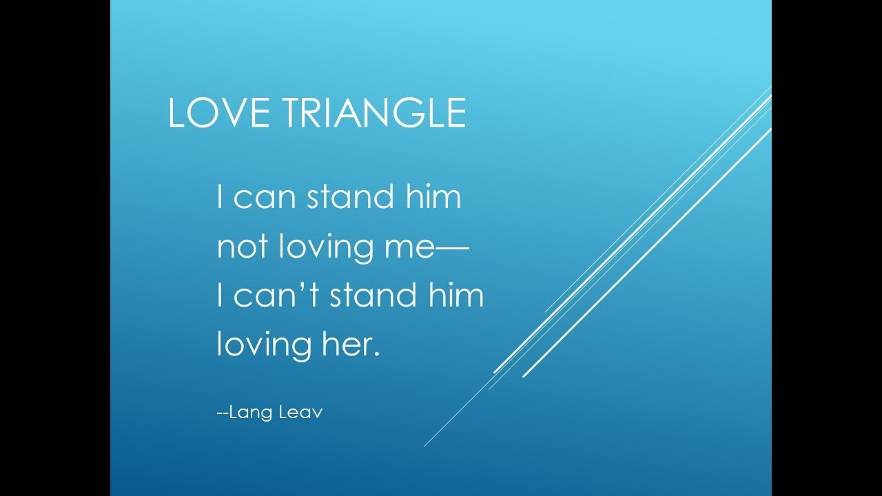 Narcissists and love triangles
