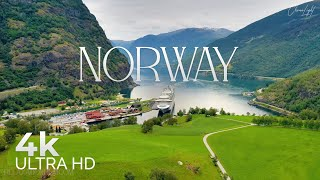 Norway 4K • Amazing Beautiful Nature of Aurlandsfjord with Piano Relaxing 3 hours • Relaxation FIlm