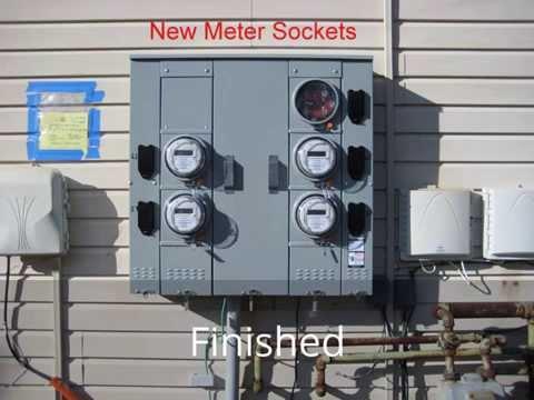 multi-gang electric meter socket replacement with a siemens uni-pak meter  socket  - youtube