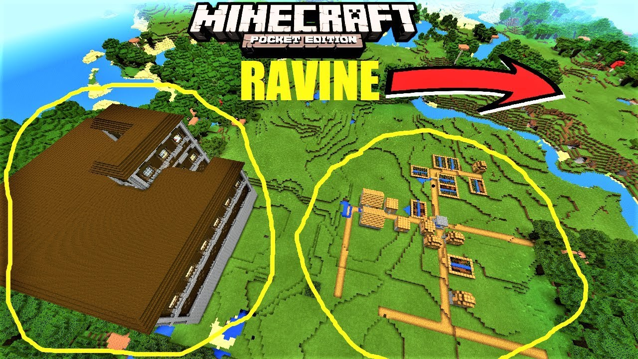 Minecraft pe village next to mansion and ravine seed mcpe 1 2 8
