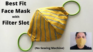 HOW TO MAKE BEST FIT FACE MASK WITH FILTER POCKET | Easy Sew Tshirt Mask with Hair Ties