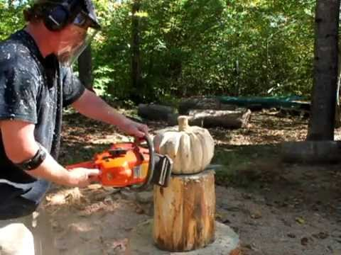 Time Lapse Chainsaw Carving A Rustic Wood Pumpkin By Mark