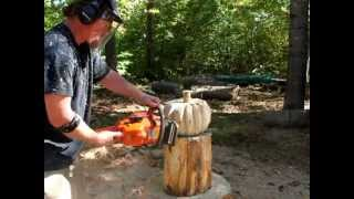 Time lapse chainsaw carving a rustic wood pumpkin, by Mark Poleski