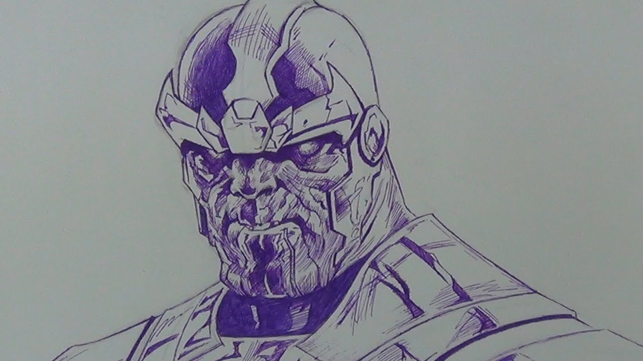 Drawing Thanos From The Avengers In Ball Point Pen (Jerome Opena Comic Book Study) - YouTube
