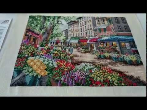 Цветочный рынок в париже вышивка
