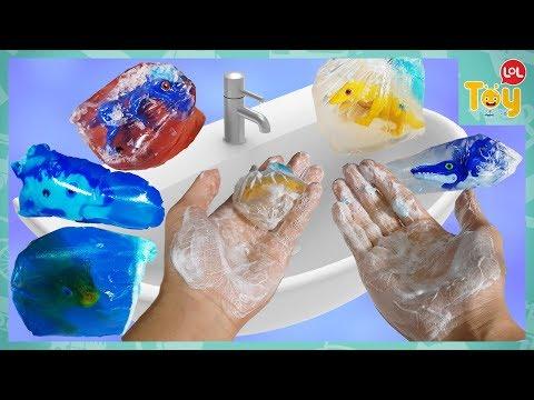 Dinosaur Mecard Tinysoar Soap Making! Hand Washing Tyranno Tricera Pakiche Chrono Toy  kids [ToyLOL]
