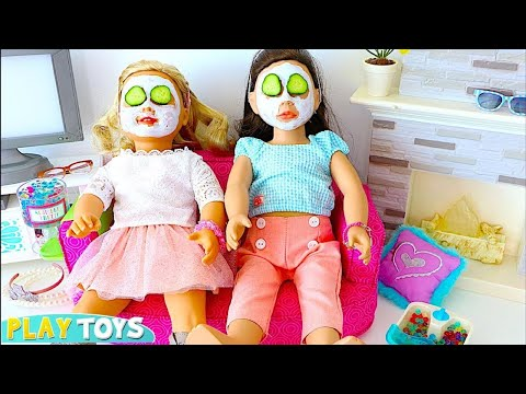 Thumbnail: AG Doll Sleepover Slumber party with dolls spa in dollhouse w/ bunkbed in doll bedroom by play toys