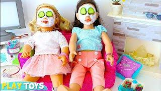 AG Baby Doll Sleepover Slumber Party Beauty Spa in Dollhouse!