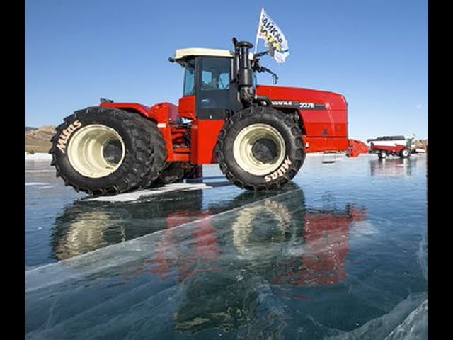 Tractor & Harvester ice skating on Lake Baikal