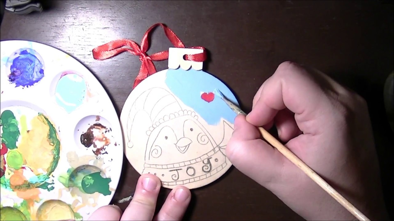 penguin wooden christmas ornament folk art kitsch acrylic painting - Wooden Christmas Ornaments To Paint