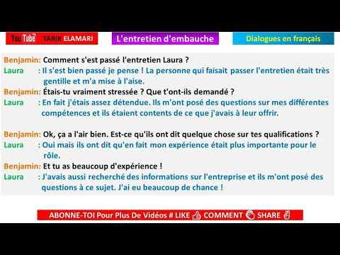 Dialogue en français Niveau B1 69 french conversation  L'entretien d'embauche