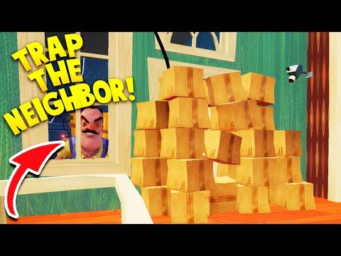 USING A WALL OF BOXES TO TRAP THE NEIGHBOR IN HIS HOUSE! WILL IT WORK?! | Hello Neighbor Alpha 4