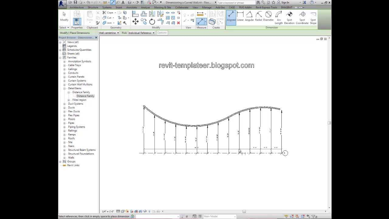 Revit Templateer How To Dimension A Funky Curved Wall