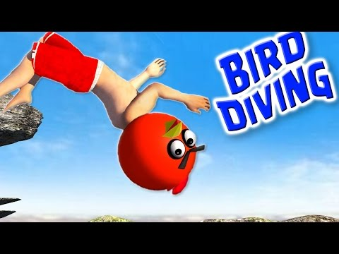 FLIP DIVING with ANGRY BIRDS  ♫  3D animated game mashup  ☺ FunVideoTV - Style ;-))