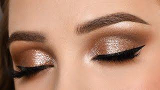SOFT SPARKLY Brown Smokey Eye Makeup Tutorial
