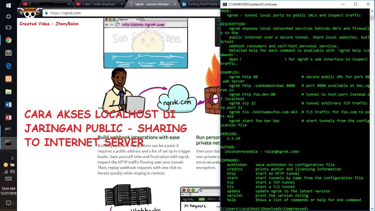 Cara mengakses Localhost di jaringan public server dengan - ngrok